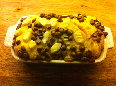 Bread and butter pudding with chocolate drops