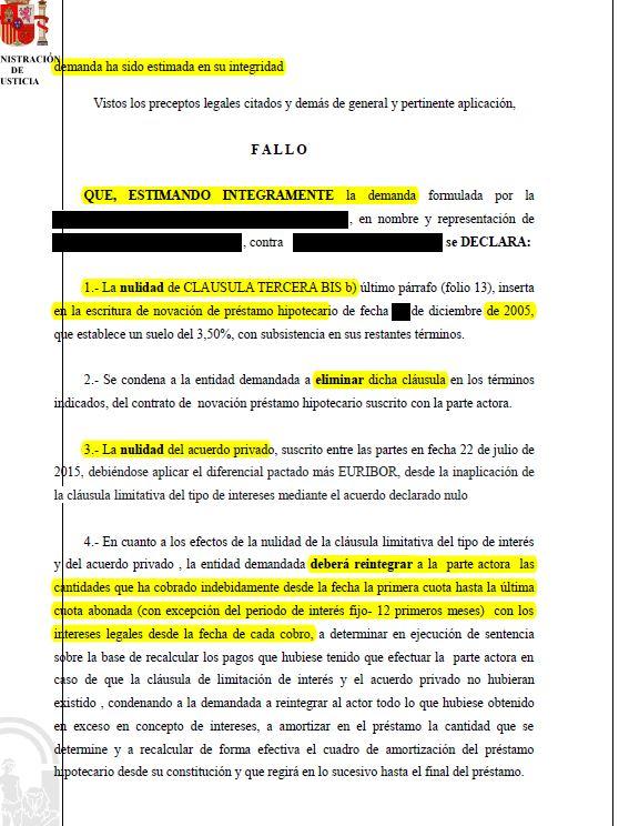 Sentencia que anula acuerdo privado de rebaja de clausula for Nulidad acuerdo clausula suelo