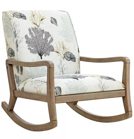 Coastal Theme Upholstered Rocking Chair