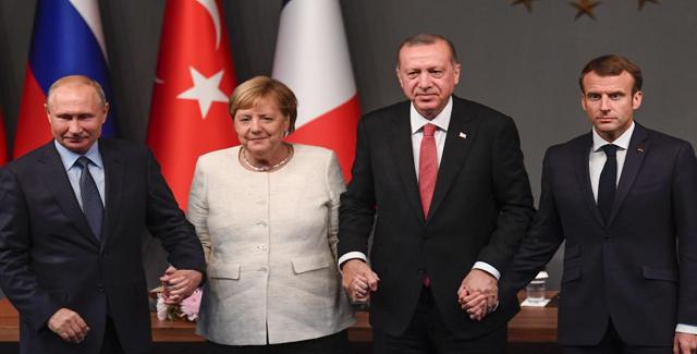 Πούτιν-Μέρκελ-Μακρόν-Ερντογάν: Η συριακή κρίση πρέπει να επιλυθεί μέσω της διπλωματικής οδού