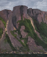 A painting of the Friar a rock face in Francois, Newfoundland