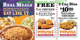Popeyes Chicken coupons for april 2017