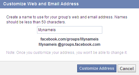 create custom facebook group address