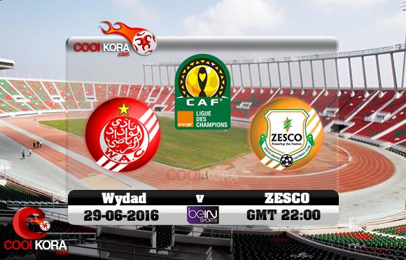 مشاهدة مباراة الوداد الرياضي وزيسكو يونايتد اليوم 29-6-2016 دوري أبطال أفريقيا