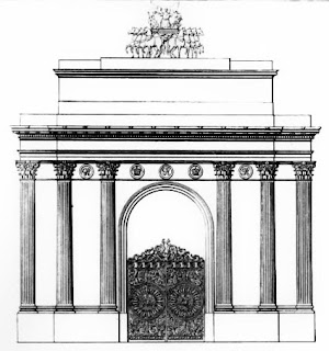 Design for the Green Park Arch  from Illustrations of the public buildings  of London by WH Leeds (1838)
