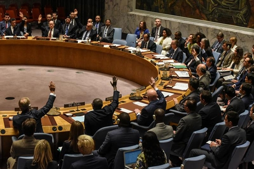 Các thành viên Hội đồng Bảo an Liên Hợp Quốc biểu quyết về lệnh trừng phạt Triều Tiên hôm 11/9