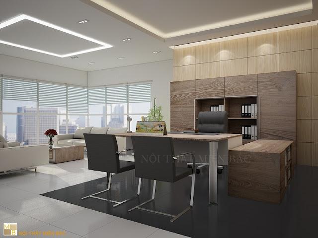 Thiết kế nội thất phòng giám đốc hoàn hảo với không gian nội thất hiện đại, đặc biệt là chiếc bàn giám đốc có kết cấu đẹp mắt bao gồm chân sắt và bàn phụ