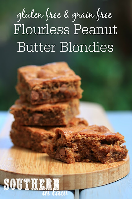 Easy Flourless Peanut Butter Blondies Recipe - gluten free, grain free, healthy, sugar free, clean eating dessert recipe