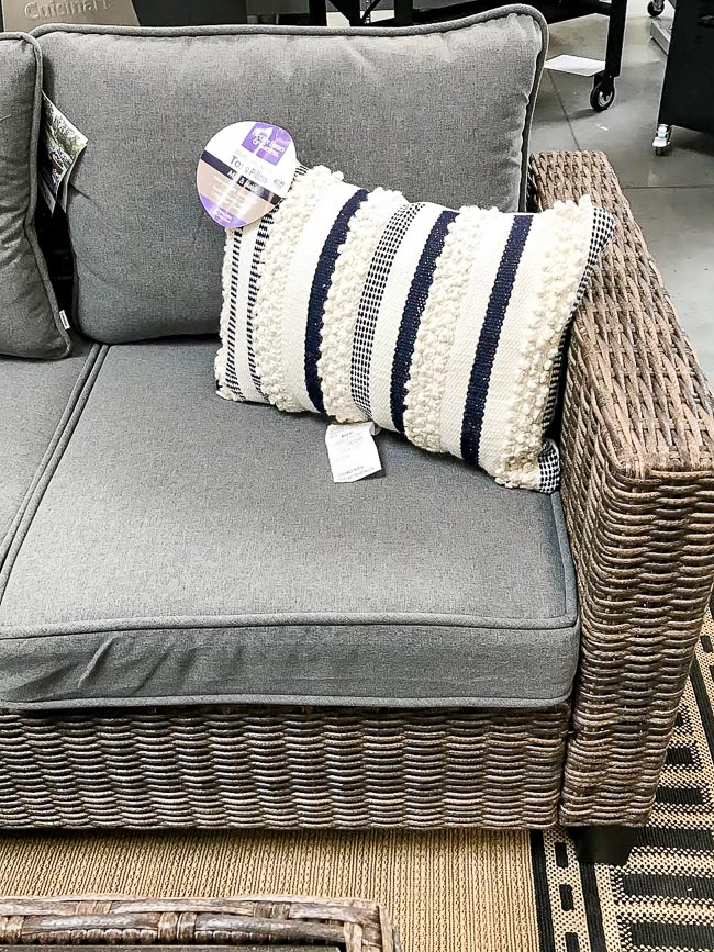 Outdoor woven pillows and outdoor sofa from walmart