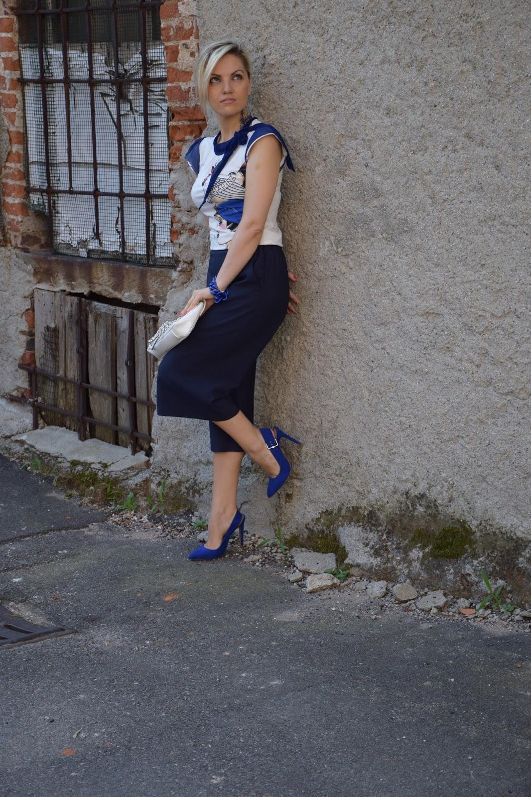 Color Block By FelyM.: BLUE OUTFIT PANTALONI CULOTTE E