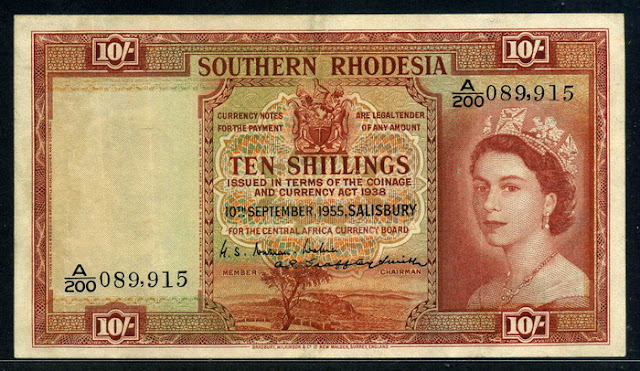 Rhodesia Queen Elizabeth banknotes images Shillings