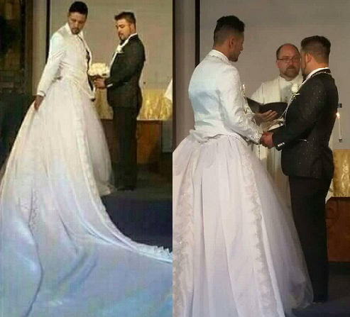 Gay Man Wears Wedding Dress As Priest Joins Him With ...