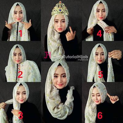 Tutorial Hijab Pengantin Headpiece untuk Resepsi Pesta Pernikahan cocok juga untuk Akad Nikah