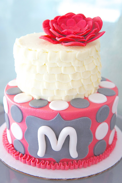 Pink, Grey and White Cake
