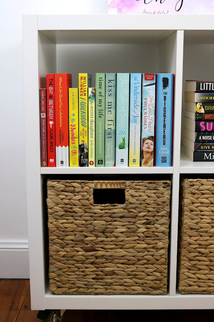IKEA Kallax Hack Bookshelf with Rainbow Colored Books
