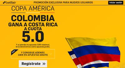 betfair Colombia gana Costa Rica supercuota 5 Copa America 12 junio