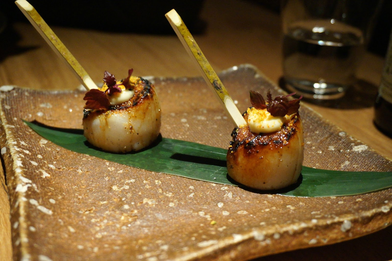 scallop skewers with wasabi and shiso
