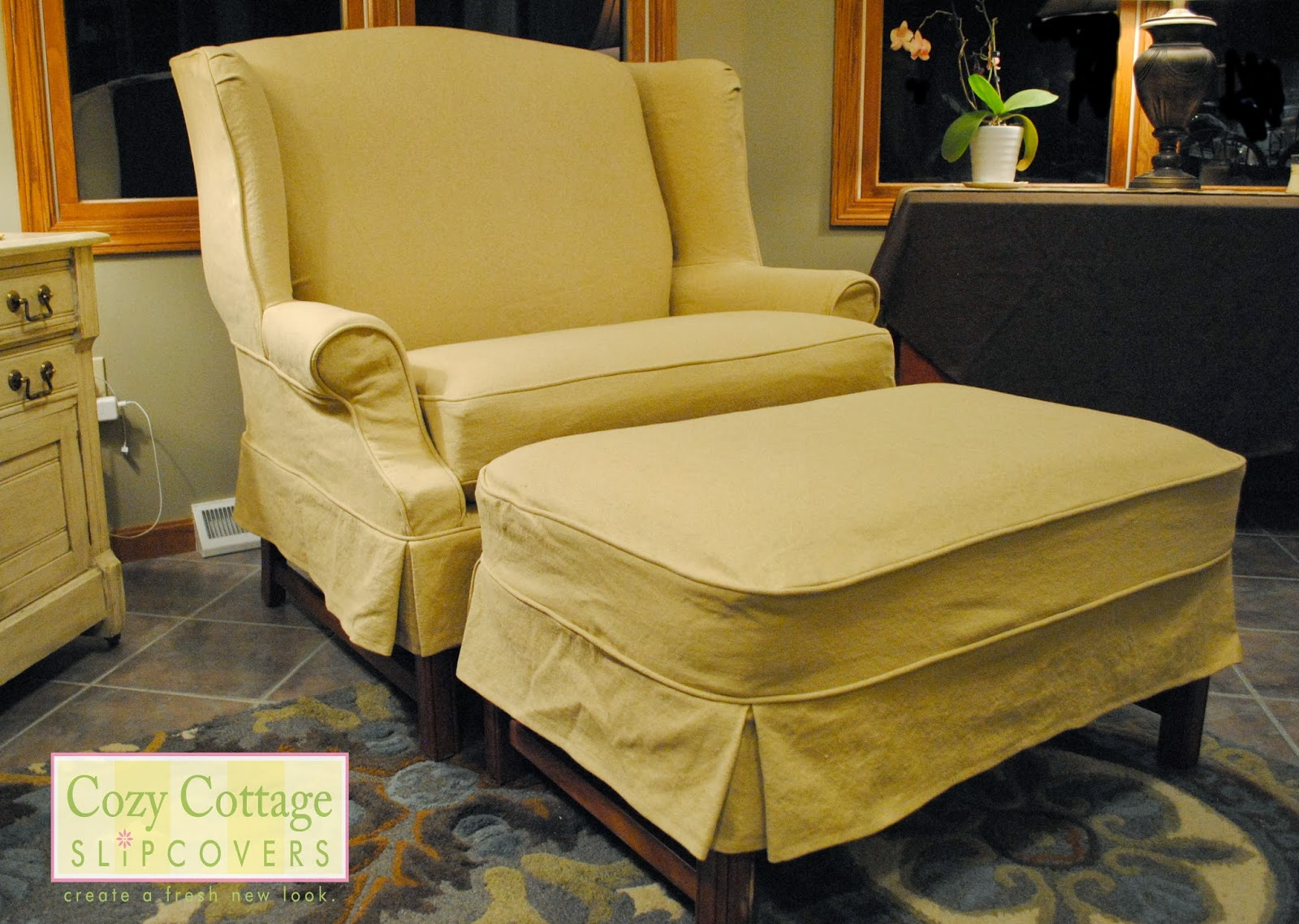 Cozy Cottage Slipcovers: Winged Settee And Ottoman Slipcover
