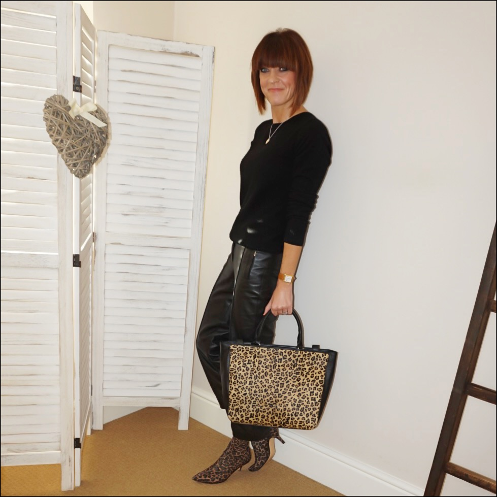 my midlife fashion, boden cashmere crew neck jumper, zara leopard print sock boots, marks and spencer leather straight leg trousers, radley witney faux leopard print leather open top tote