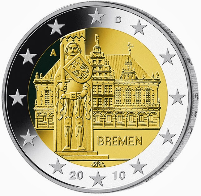 2 Euro Commemorative Coins Germany 2010, Bremen City Hall and Roland