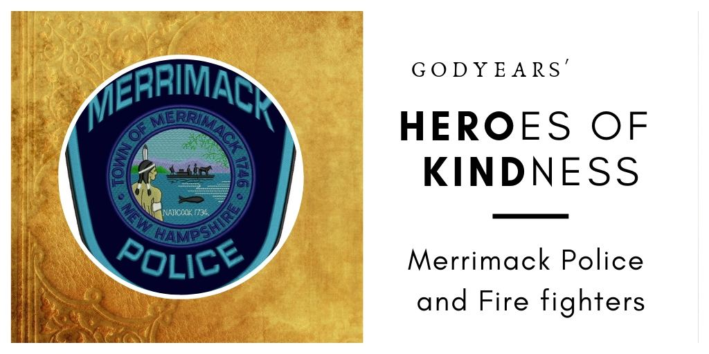 The local Merrimack police and firefighters proved they could be heroes even without a gun or a fire hose.