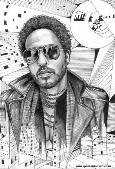 Black and white illustration of Rock musician Lenny Kravitz in a imaginative setting