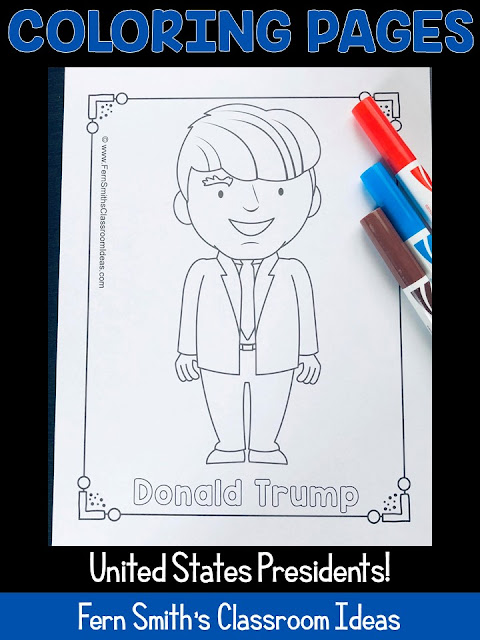 NOW UPDATED with Donald Trump! Forty-Six Coloring Pages for Presidents' Day, This Color For Fun Printable Coloring Book Include George Washington to Donald Trump! This Presidents' Day Resource is perfect for when you are teaching Presidents' Day as it includes all of the presidents. Perfect for Many Different Types of Presidents' Day Activities in Your Classroom or Home!