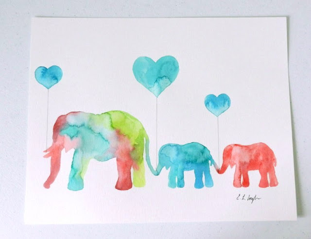 watercolor elephants