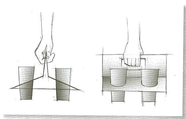 Contoh sketsa pembawa gelas jus dengan cara bawanya