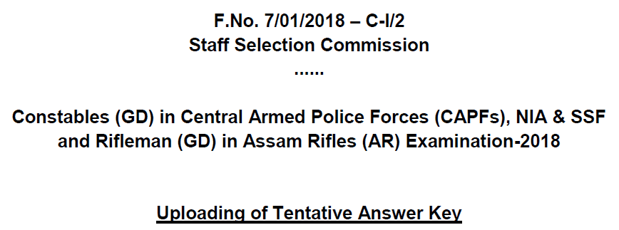 SSC GD Constable Exam 2018 Answer Key