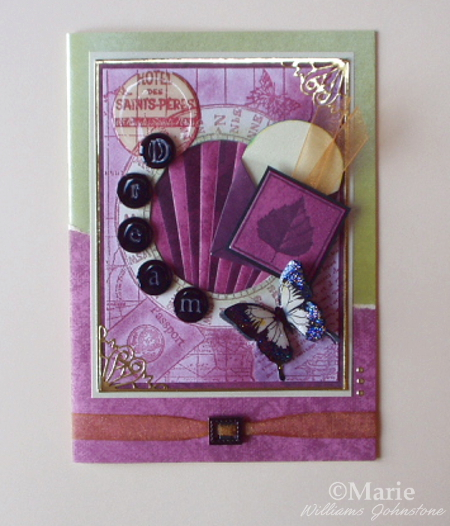 purple and gold color rubber stamped butterfly dream handmade card papercraft