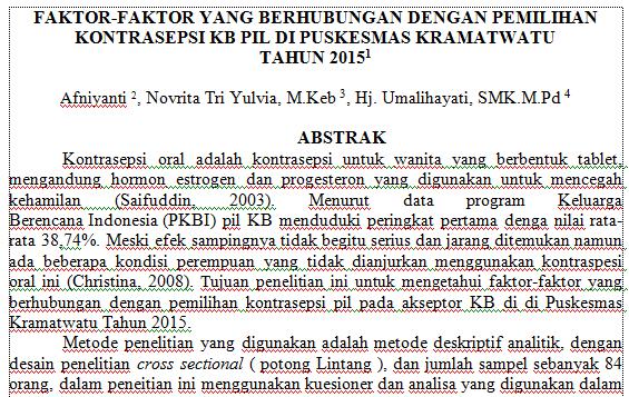 Contoh Abstrak Karya Tulis Ilmiah Kti Akbid Juprani S Pd