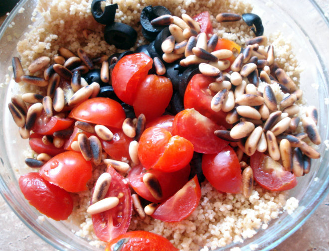 Couscous with olives by Laka kuharica: add olives, tomatoes and pinenuts