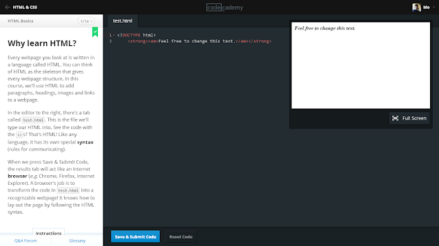 Screenshot of Codecademy's HTML course