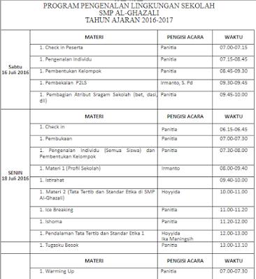 gambar Contoh Jadwal Pengenalan Lingkungan Sekolah Tahun Pelajaran 2017/2018