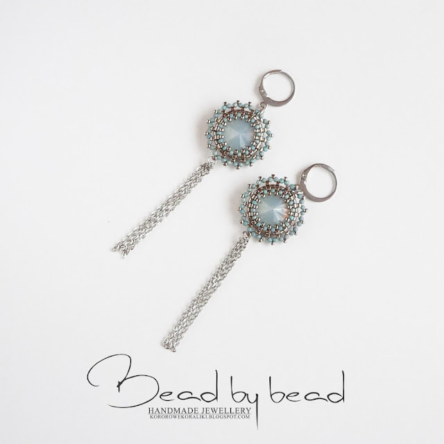 kolczyki beading srebrno-turkusowe z rivoli i łańcuszkami | beading silver & turquoise rivoli earrings