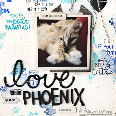 Love, Phoenix Scrapbook Layout by Samantha Mann for Newton's Nook Designs, Mixed Media, Watercolor, Stamping, Gesso, Stencil, Embossing Paste, scrapbook, #newtonsnook #scrapbook #layout #mixedmedia #sewing #diecuts #stamping #distressoxide