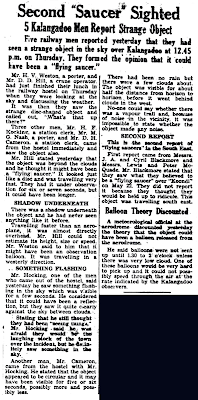 Second Saucer Sighted - Mt Gambies Border Watch (6-17-1950)