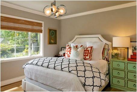 Groß-gästezimmer-ideen-Modern-Mischung-aus-Vintage-Stücken-und-modernen-geometrischen-Bettwäsche