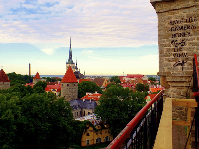 Tallin Estonia St Olaf View Rooftops sea walls tower