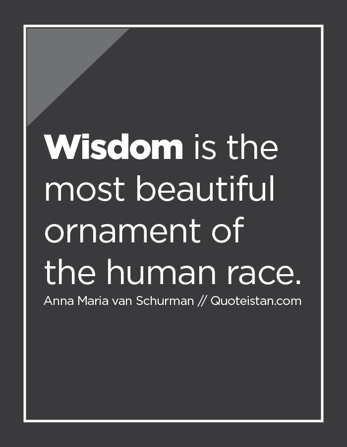 Wisdom is the most beautiful ornament of the human race.