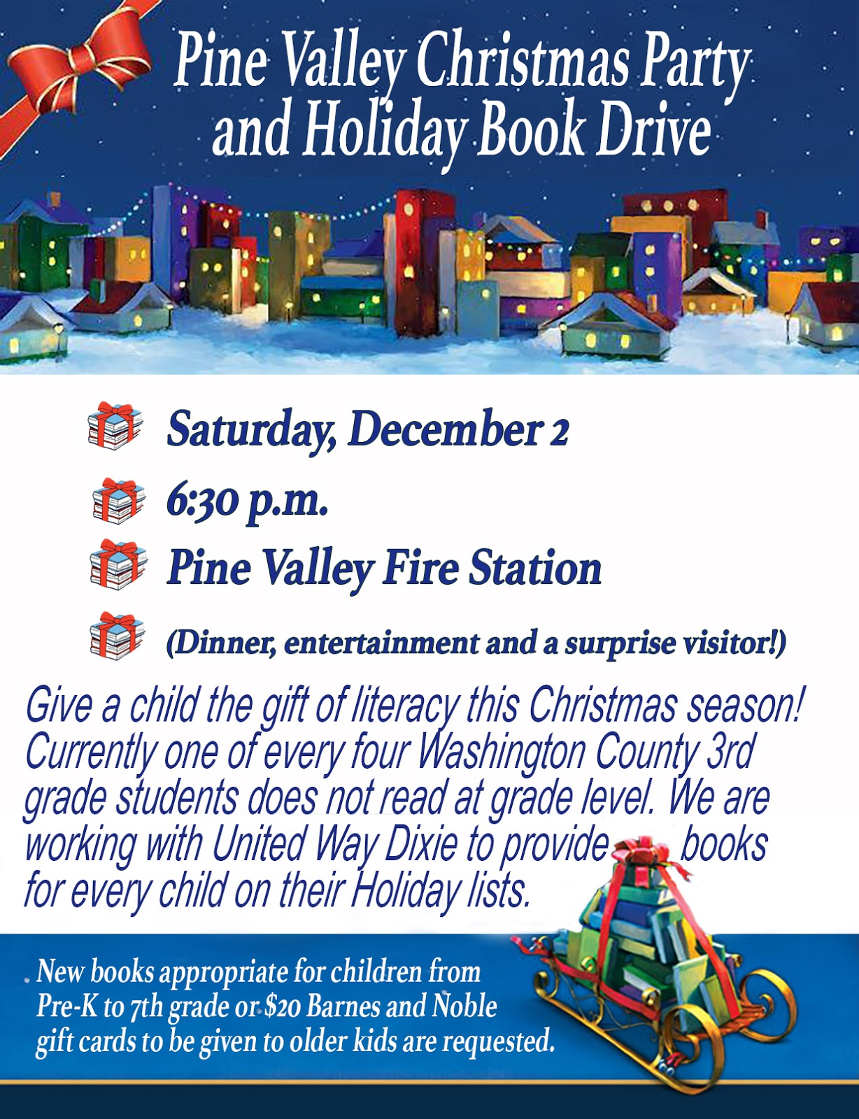 Pine Valley Blog: Christmas Party and Holiday Book Drive Dec 2