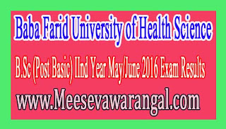 Baba Farid University of Health Sciences B.Sc N Post Basic MJ 2016 Exam Results
