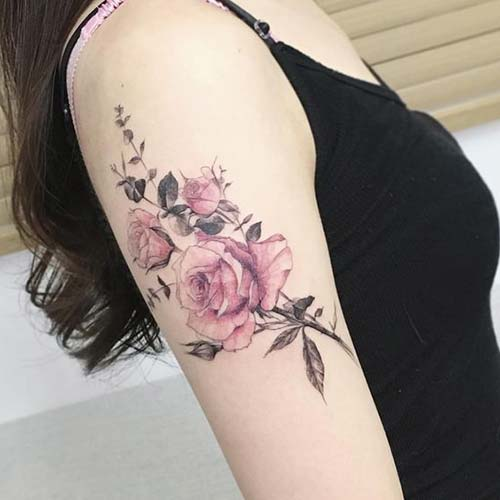 woman arm pink rose tattoo kol pembe gül dövmesi