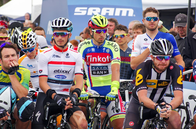 Riders on the start line at Tour of California