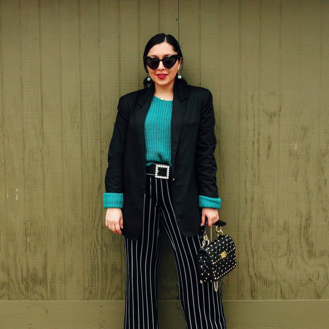 Green Sweater, Emerald Green Sweater outfit, Stripped Pants and Green Sweater Outfit, Embellished Belt