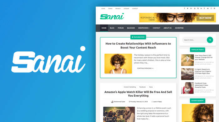 Sanai - Professional Blogger Template