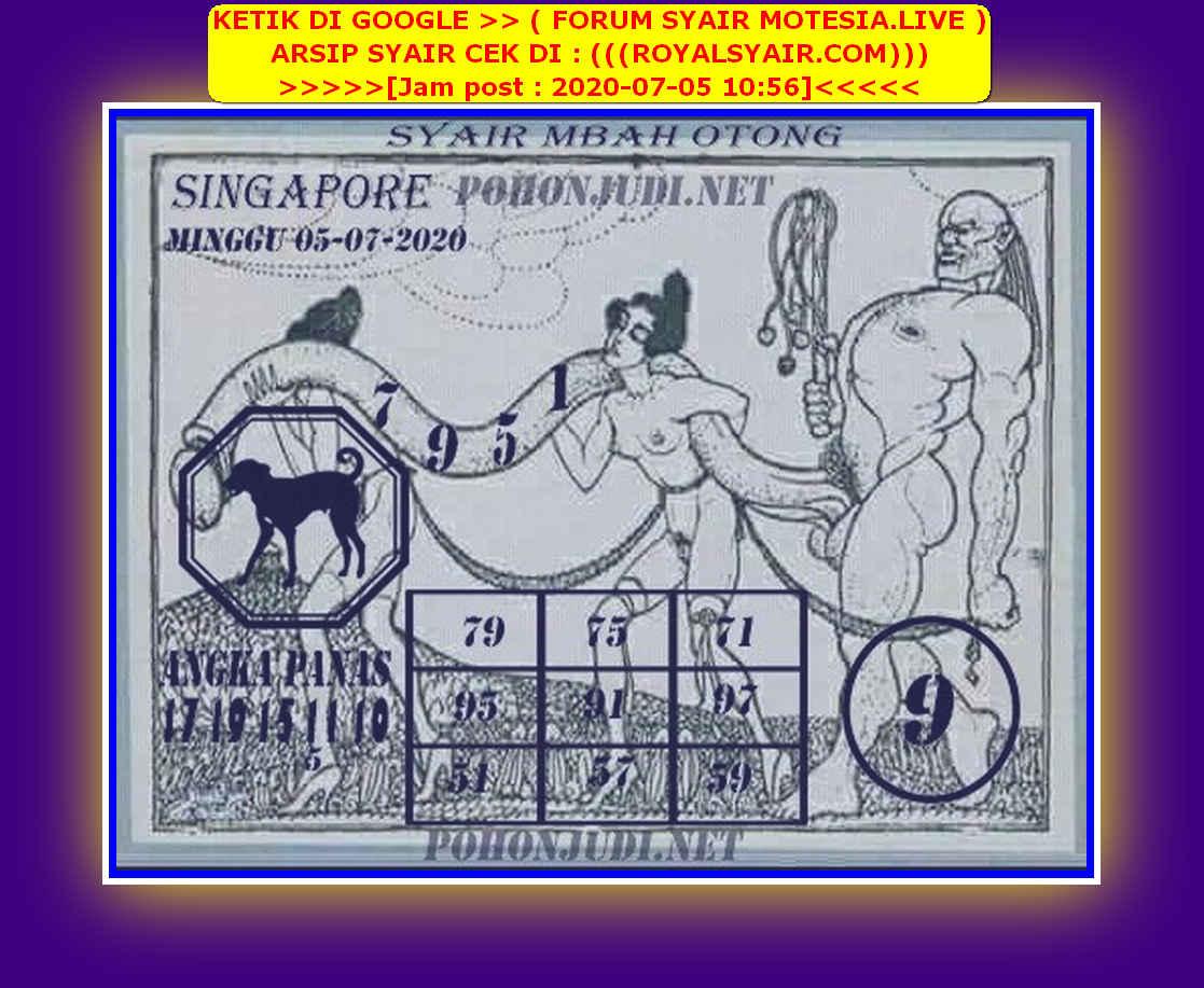 Kode syair Singapore Minggu 5 Juli 2020 154
