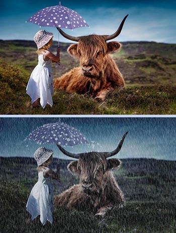 membuat efek hujan di photoshop, tutorial photoshop, efek foto