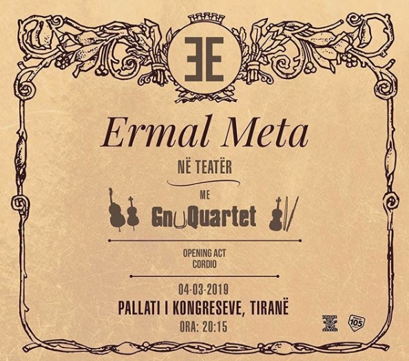 Ermal Meta with a concert in Tirana on March 4 with GnuQuartet